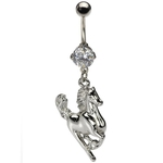 Horse Dangling Belly Ring w/CZ image