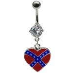 Dangling Heart Rebel Flag Belly Ring image