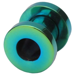 2 Gauge Screw Fit Flesh Tunnels Green Titanium Plated
