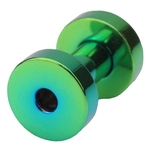 8 Gauge Screw Fit Flesh Tunnels Green Titanium Plated image