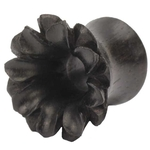 0 Gauge Black Areng Wood Lotus Tunnel Plug image