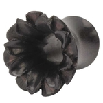 2 Gauge Black Areng Wood Lotus Tunnel Plug image