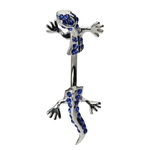 Blue Jeweled Split Gecko Lizard Belly Button Ring image