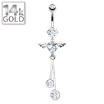 14 Kt White Gold Winged Heart Dangling Belly Ring image