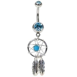 Aqua Dream Catcher Belly Ring image
