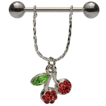 Dangling Cherry Gem Nipple Ring image