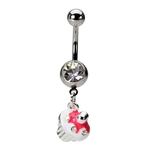 Cupcake Belly Ring Pink & White image