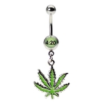 420 Green Pot Leaf Dangling Belly Ring image