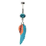 Dangling Peacock Belly Button Ring with Wing image