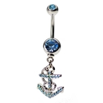 Dangling Anchor Belly Ring w/Aqua Crystals image