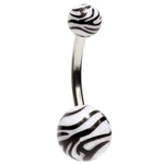 Zebra Print Belly Button Ring image
