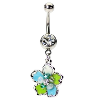 Dangling Hawaiian Tropical Flower Cluster Belly Ring