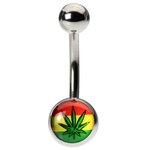 Jamaican Flag Pot Leaf Belly Ring image