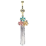 Dangling Triple Flower Gold Belly Button Ring image