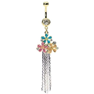 Dangling Triple Flower Gold Belly Button Ring