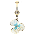 Gold Tropical Hawaiian Flower Belly Ring image