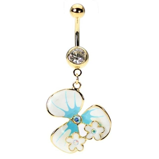 Gold Tropical Hawaiian Flower Belly Ring