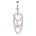 Fancy Paved Gem Heart & Pink Bow Belly Ring image