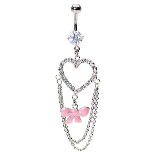 Fancy Paved Gem Heart & Pink Bow Belly Ring