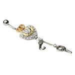 Juicy Couture Belly Ring w/ Crystal Heart, Gold Crown, Letter ''J'' Dangle & Key image