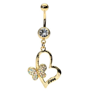 Gold Plated Love Belly Ring w/Heart & Butterfly