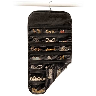 37 Pocket Black Satin Jewelry Organizer