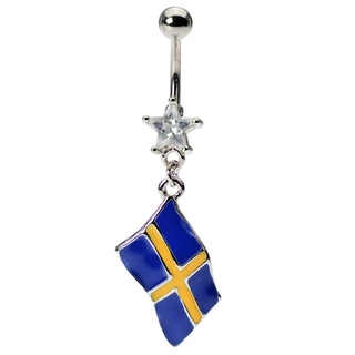 Flag of Sweden Belly Ring