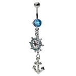Dangling Aqua Crystal Anchor Belly Ring image