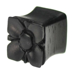 Flower Double Flared 0 Gauge Plug Organic Hand Carved Areng Ebony Wood image