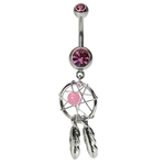 Pink Dream Catcher Navel Ring - Woven Star & Feathers image