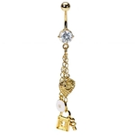 Tiffany Inspired Gold Lock & Key Belly Ring image