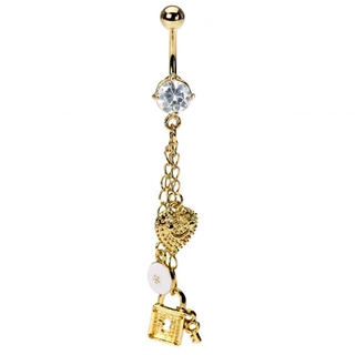 Tiffany Inspired Gold Lock & Key Belly Ring