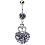Purple Crystal Heart Juicy Crown Belly Ring image