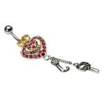 Juicy Couture Belly Ring w/ Red Crystal Heart, Gold Crown, Letter ''J'' Dangle & Key image