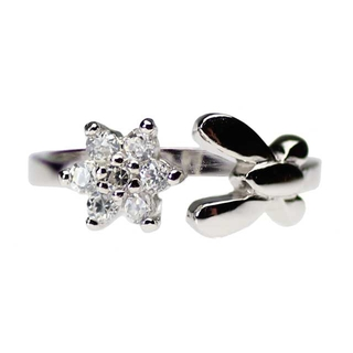 Sterling Silver Toe Rings w/ Butterfly & Flower