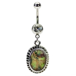 Abalone Dangling Belly Button Rings image