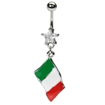 Italian Flag Belly Button Ring image
