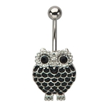 Black Owl Belly Ring image