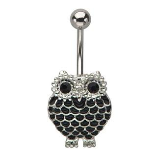 Black Owl Belly Ring