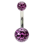 Purple Leopard Print Belly Button Ring image
