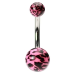 Pink Leopard Print Belly Button Ring image