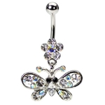 Dangling Flower & Butterfly Belly Ring image
