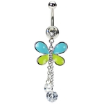 Butterfly Navel Rings - Dangling CZ Stones image