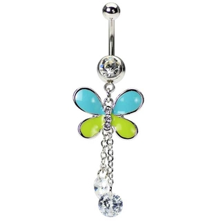 Butterfly Navel Rings - Dangling CZ Stones