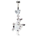White Butterfly Crystal Belly Button Ring image