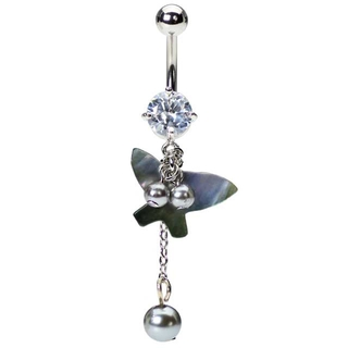Butterfly Pearl Belly Button Ring