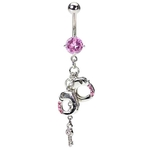 Pink Handcuff Belly Button Ring w/ Key image