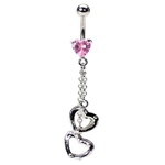 Pink Heart Handcuff Belly Button Ring image