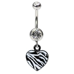 Dangling Zebra Print Belly Button Ring image