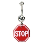 Stop Sign Logo Belly Button Ring image